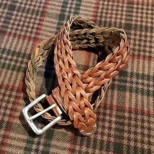 FOSSIL Men's Brown Leather Webbed Belt - Size 34